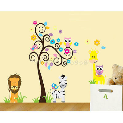 Flower Tree/Lion/Butterfly/Owl/Zebra/Giraff Nursery Kids baby wall sticker/Decal