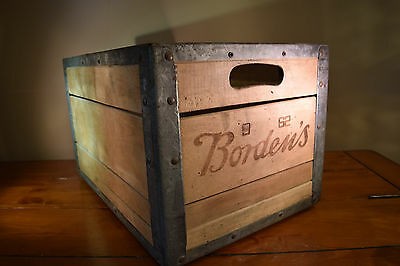 Vintage BORDEN'S 1962 wood metal advertising shipping crate box