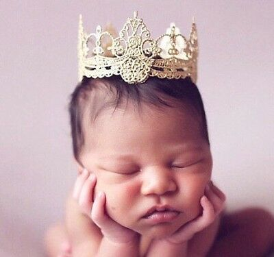 Gold, Silver Lace Crown Baby Photo Shoot Cake Smash Prop Cake Topper LARGE