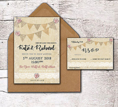 10 x PERSONALISED RUSTIC BUNTING ROSE & LACE WEDDING INVITATIONS -EVENING INVITE
