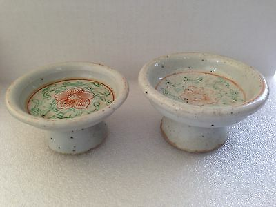 Antique Chinese Red & Green Flora Porcelain Footed Offering Dish Bowl 2 Pieces