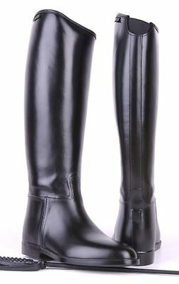 HKM Mens Elasticated Insert Waterproof Spur Support Long Wide Horse Riding Boots