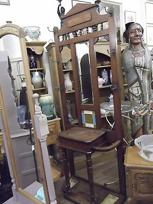 VERY NICE EDWARDIAN SOLID OAK HALL STAND c 1900