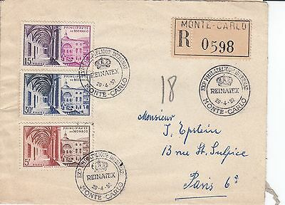 N 1316 Monaco Monte Carlo registered 1952 REINATEX cover to Paris