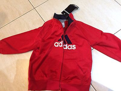 Kids Adidas Jacket BNWT Red Satin Finish Size 4 Suit Boy Or Girl Very Cute