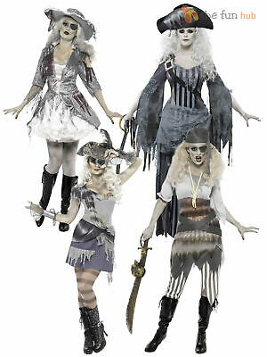 Ladies Zombie Pirate Costume Ghost Ship Womens Halloween Fancy Dress Outfit