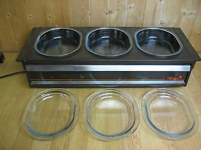 Original Philips Table Top Hostess With 2 Oval Pyrex Dishes And Lids. Warming Dr