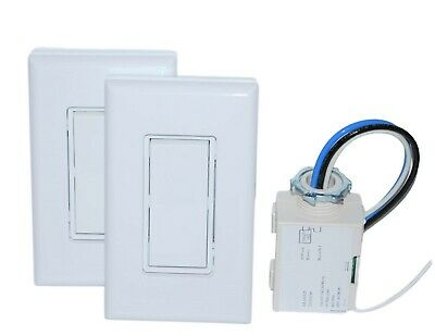 Three Way Wireless Light Switch Kit (1 Relay & 2 Switches) NO BATTERIES NEEDED!!
