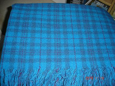 "Welsh Pure New Wool Picnic Blanket Car Rug Throw Mid Blue Maroon Check 60""x60"""