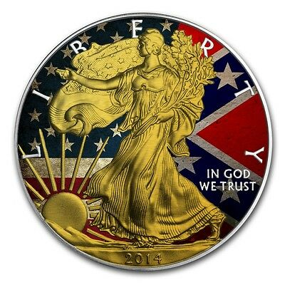 American Confederate Flag Silver Eagle  Coin , Colorized And Gold Gilded