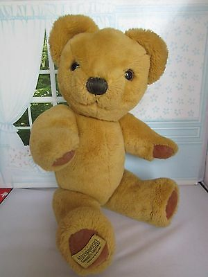 """Vintage 1970s/80s Merrythought Jointed Teddy Bear with Label 15"""" English Bear"""