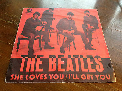 """The Beatles She loves you 1963 VERY RARE Sweden DARK RED ps 45 7"""""""
