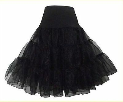 "Black Short Retro Underskirt/Petticoat/Crinoline/Skirt Length-26"" Regular/Plus"