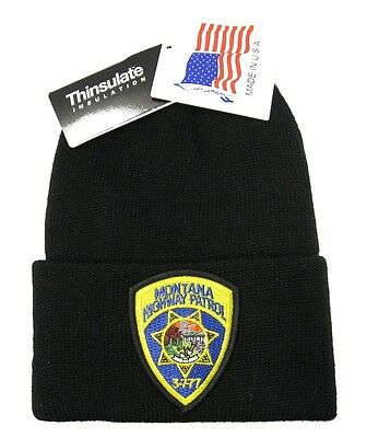 Montana Highway Patrol Patch Knit Cap - 40g Thinsulate Insulation - Black