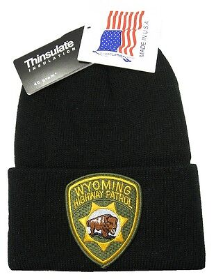 Wyoming Highway Patrol Patch Knit Cap - 40g Thinsulate Insulation - Black