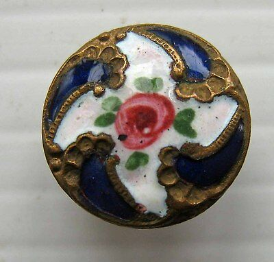 Victorian Brass & Enamel Button - Blue & White With Flowers / Roses
