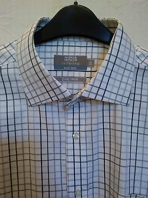 """M&S Tailoring Double Cuff White Check Shirt 16.5"""" /42cm"""