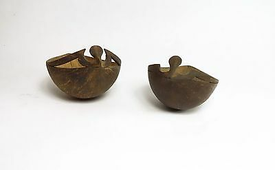 A pair of Old Solomon Islands Frigate Bird Coconut Cups