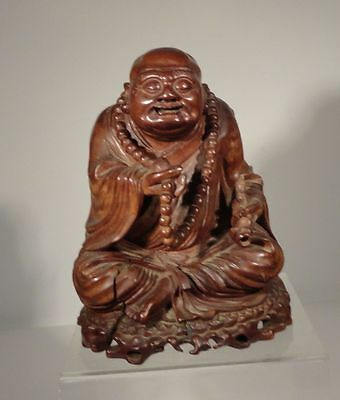 Antique Chinese Japanese Carved Hardwood Happy Smiling Buddha Huali Hardwood
