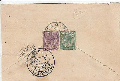 N 1833 Malaya Penang 1925 cover to India;  6c rate; 2 stamps