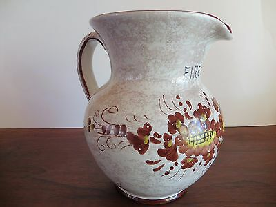 Vintage Pitcher Jug Vase Utensil Ceramic Firenze Saturnia Tuscany Italy w Label
