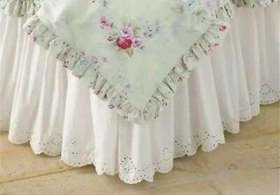 Simply Shabby Chic White Eyelet lace Scallop full Ruffled Bedskirt dust ruffle