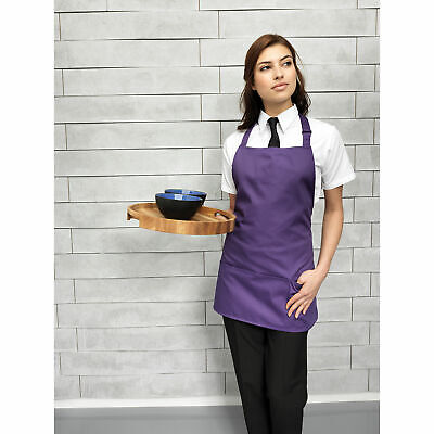 Premier 'Colours' 2-in-1 Apron Colour Kitchen Workwear Short Bib Pocket Aprons
