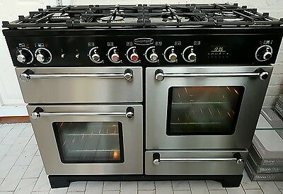 Rangemaster Dual Fuel Range Cooker in Stainless Steel and Black with FSD 110cm