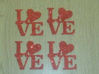 8 die cut 'LOVE' wording embellishments/toppers.Red glitter.Valentines