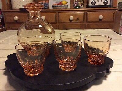 Beautiul Vintage French Art Deco Pink Glass Liqueur Decanter & 4 Shot Glasses