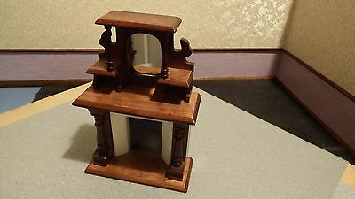 dolls house furniture ornate victorian oak fire with mirror  1.12th