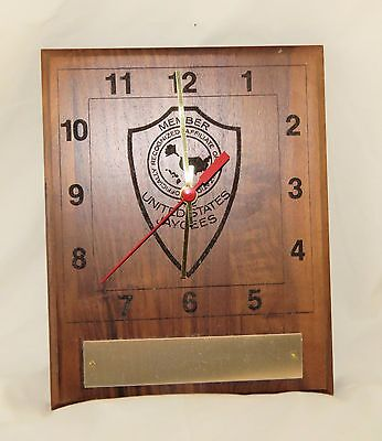 United States Jaycees Clock with engravable name plate