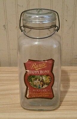 Antique Brunte Candy Store Glass Jar With Lid & Original Paper Label