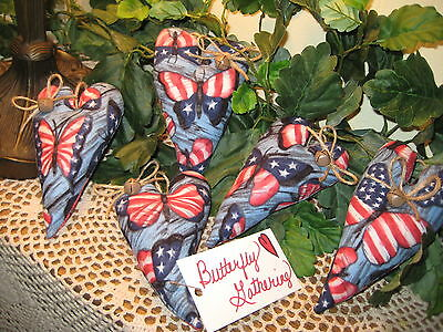 5 Patriotic Fabric Butterfly Heart Ornaments Bowl Fillers American Home Decor