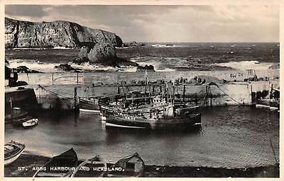 Scotland Berwickshire St. Abbs Harbour and Headland Ships Boats Sea Cliff 1953