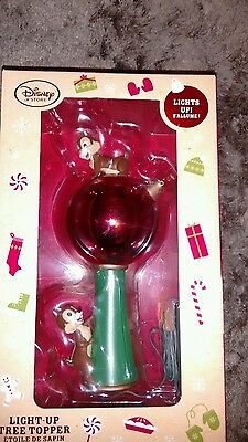 Disney Store Chip N Dale Light Up Tree Topper Xmas Decoration Light Up Bauble