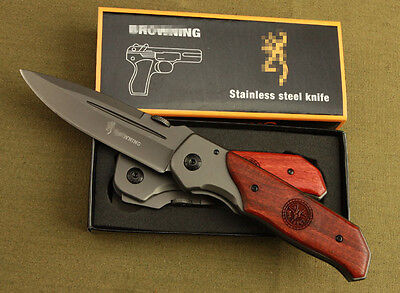 BRN Knife Red Acid Wood Handle Saber Outdoor Camping Fishing Pocket Tool Gift