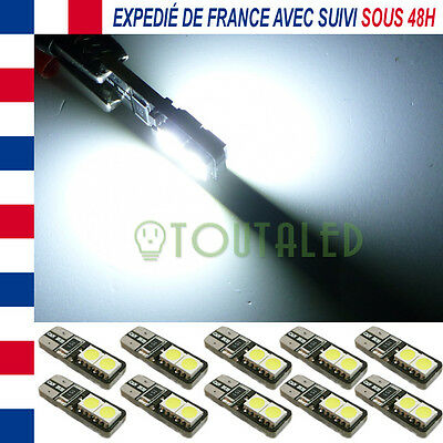 10X Ampoule Lampe 12V T10 W5W 4 Led 5050 Xenon Anti Erreur Canbus Odb Tuning