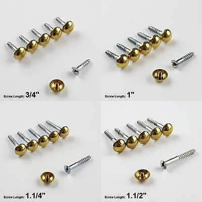 "PACK OF 100 1/"" DECORATIVE MIRROR SCREWS /& BRASS DOME SCREW IN HEADS * 25mm"