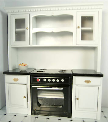 Dollhouse Furniture Kitchen Cabinets with Stove Miniature Kitchen Wall Cabinets