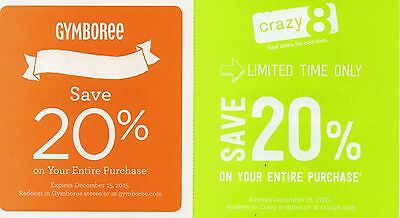 20% off entire purchase to Gymboree & 20% off entire purchase to Crazy 8