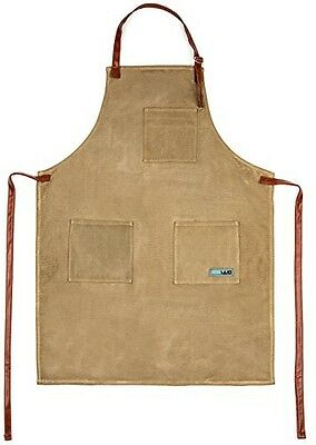 TOPVIVO Utility Waxed Canvas Apron Durable with PU Leather Strap and Reinforced