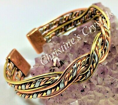 Solid Copper MAGNETIC - CELTIC 3 COLOUR TWIST Bracelet Healing Arthritis ( MB17)