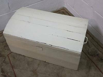 Antique Solid Oak Painted White Domed Top Trunk / Chest / Storage Box,