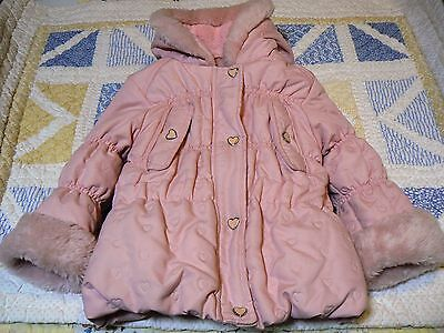 ME JANE BABY Hooded Puffer Jacket Baby Girl Pink Hearts Faux 18 months EUC