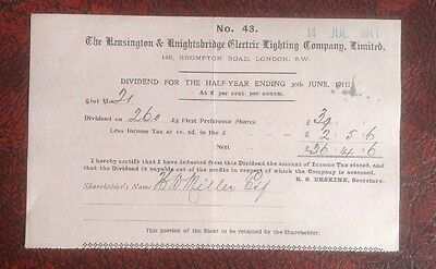1911 London And Kensington Electric Lighting Company Ltd Dividend Certifcate