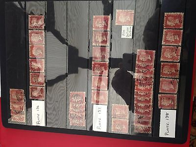 GB UK Victoria 44 x penny red stamps sorted on plates between 135 & 138 high cat