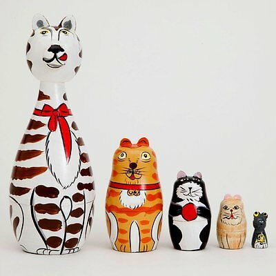 """Bits and Pieces - """"Cleo & Friends"""" Nesting Cats-Hand Painted Wooden Nesting..."""
