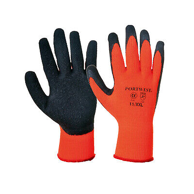 Portwest Thermal Grip Gloves Latex Palm Coated Thermo Waterproof Safety Glove