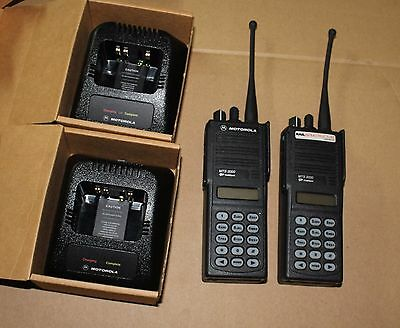 lot of 2 x New Motorola MTS2000 Handheld Two-Way Radios with Chargers